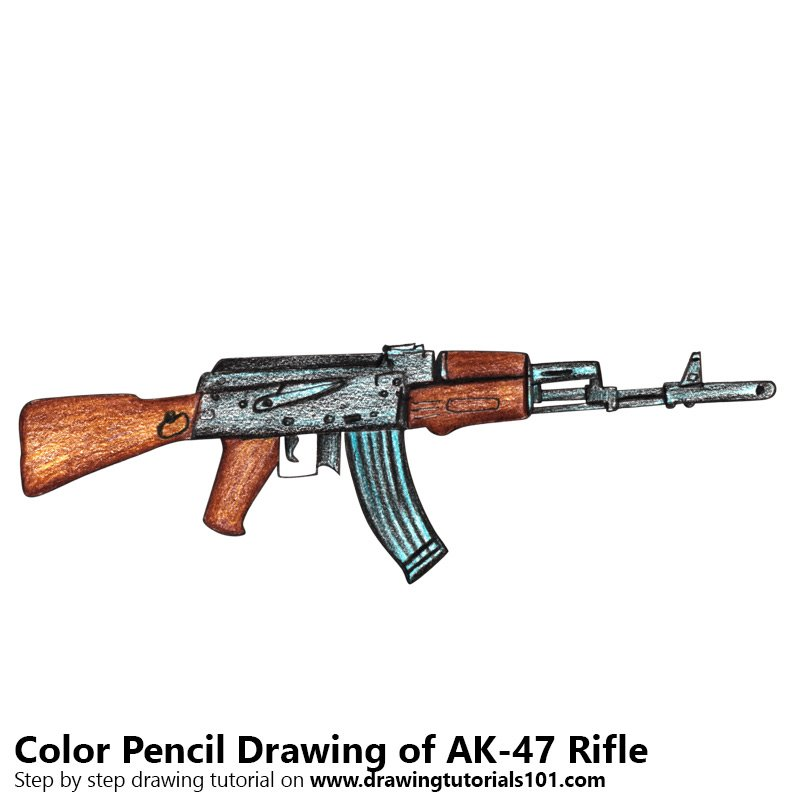 AK-47 Rifle Color Pencil Drawing