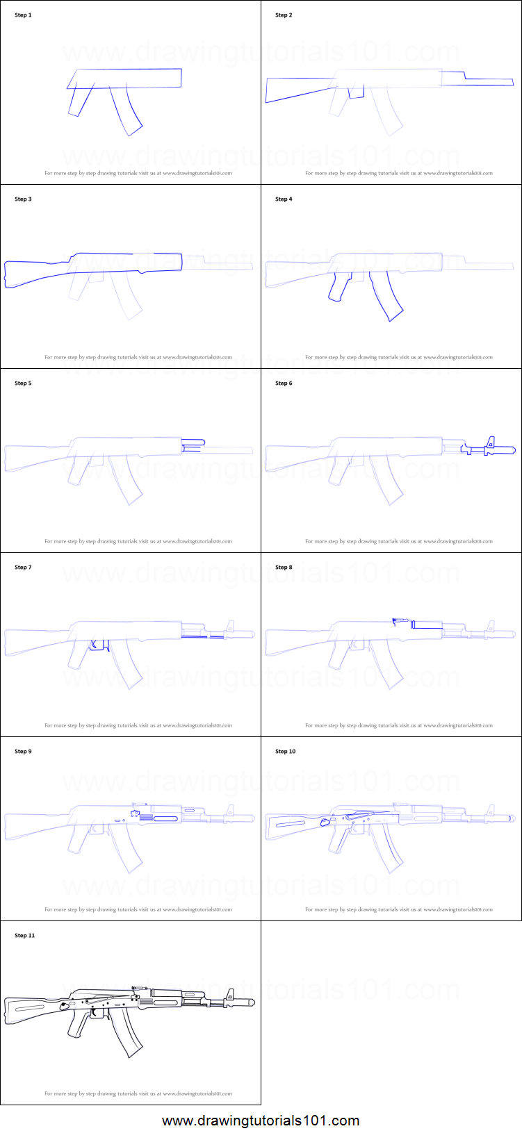 How To Draw Ak 47 Rifle Printable Step By Step Drawing Sheet