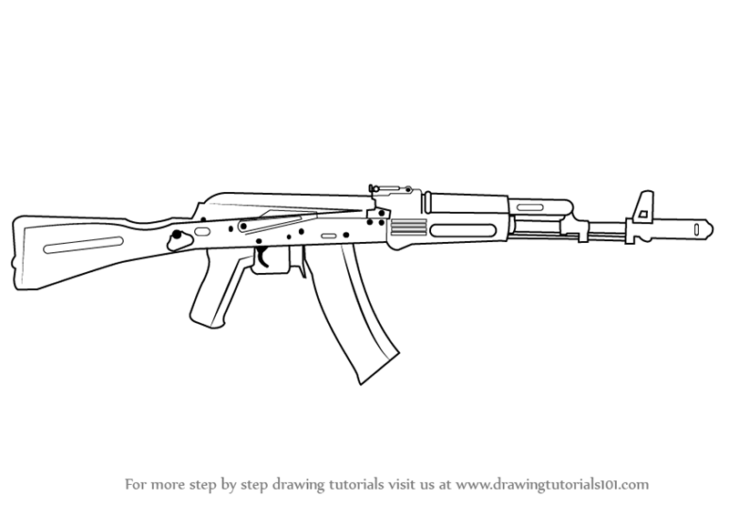 Learn how to draw ak 47 rifle rifles step by step for Ak 47 coloring pages