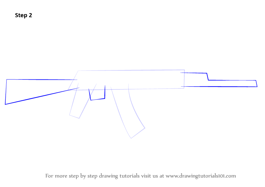 learn how to draw ak 47 rifle rifles step by step