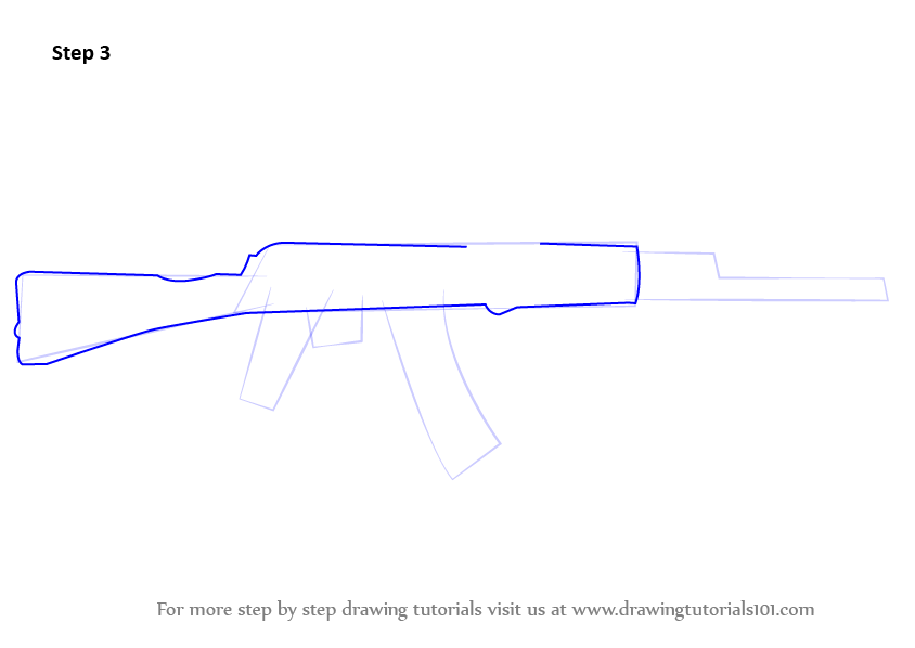 Learn How to Draw AK-47 Rifle (Rifles) Step by Step