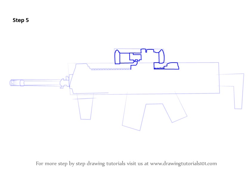 how to draw a sniper rifle step by step