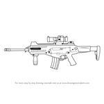 How to Draw a Beretta ARX 100 Assault Rifle