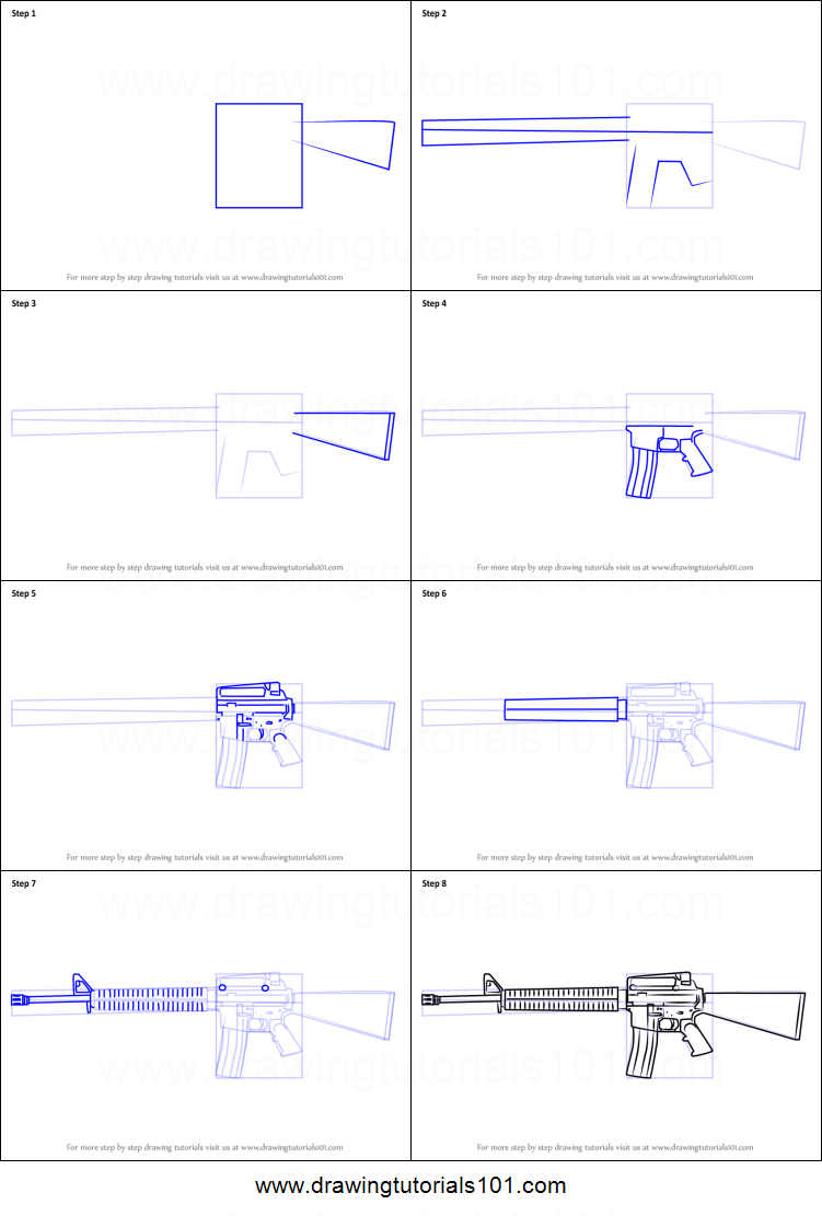 How to draw a m16 rifle printable step by step drawing sheet how to draw a m16 rifle pooptronica