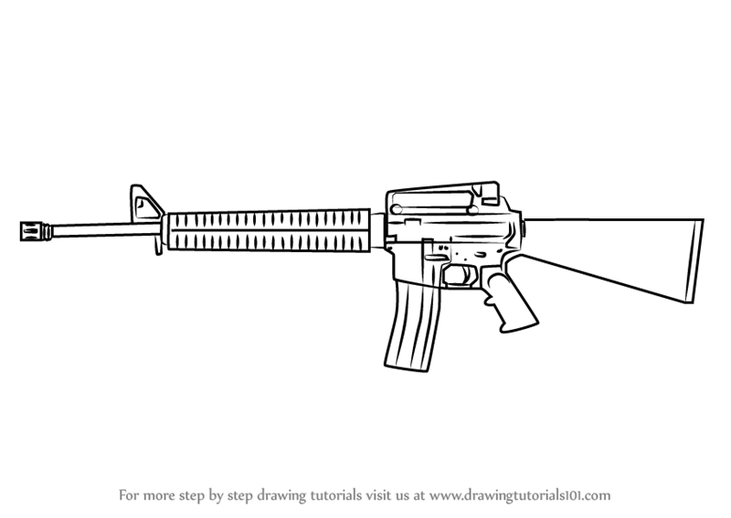 Learn how to draw a m16 rifle rifles step by step drawing tutorials