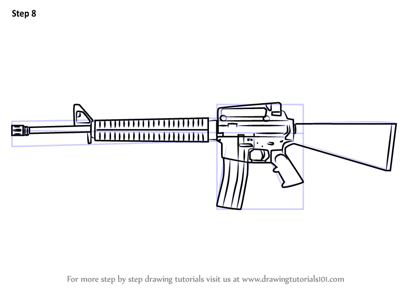 Learn How To Draw A M16 Rifle Rifles Step By Step