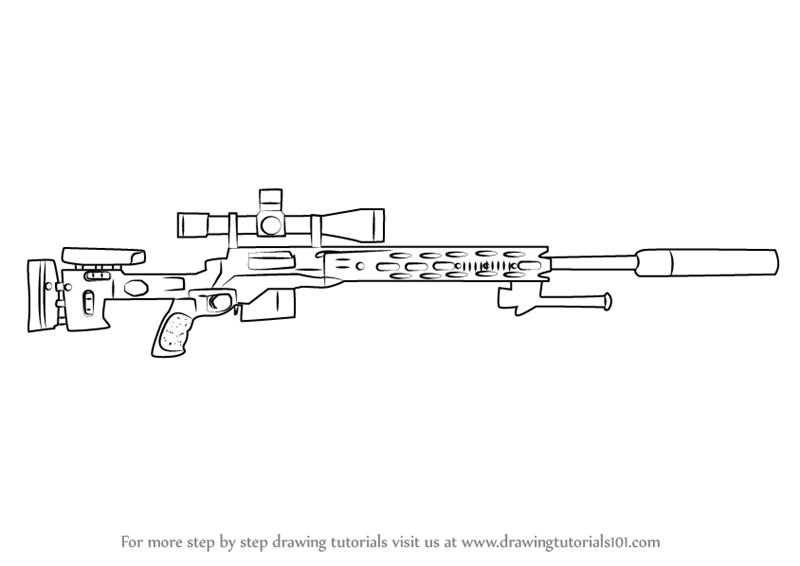 Learn How To Draw A M2010 Enhanced Sniper Rifle Rifles