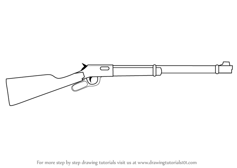 Learn How To Draw A Winchester Rifle Rifles Step By Step