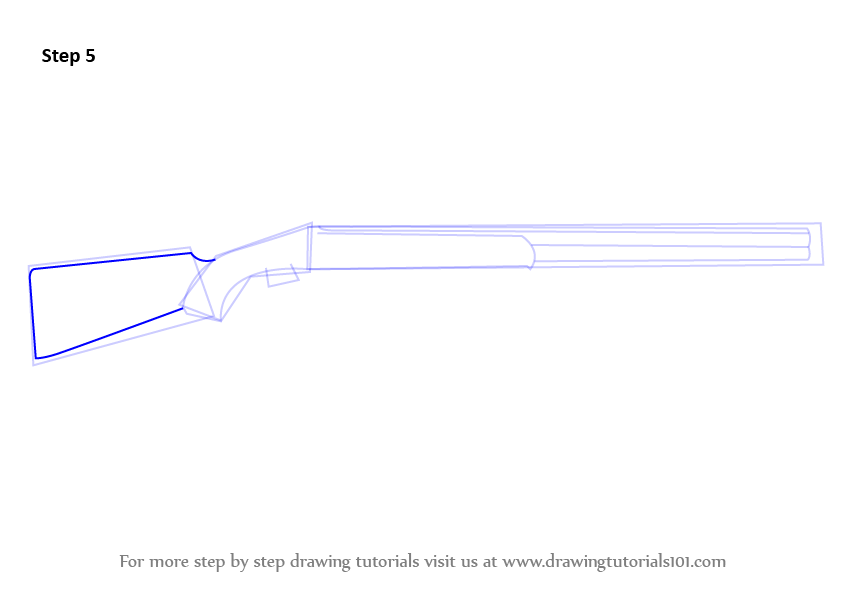 how to draw tactical shotgun step by step